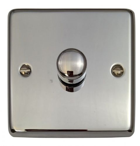 G&H CC11 Standard Plate Polished Chrome 1 Gang 1 or 2 Way 40-400W Dimmer Switch